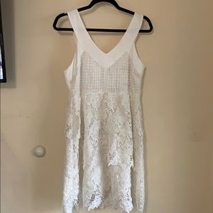 White Tiered Babydoll Dress with Back Bow